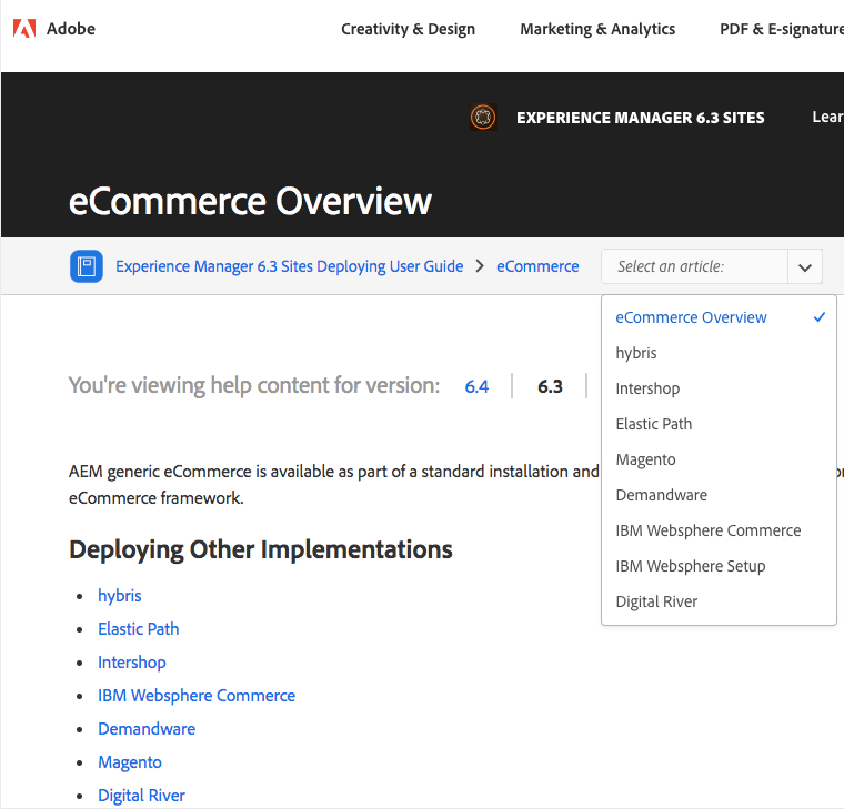 Adobe screenshot of eCommerce overview