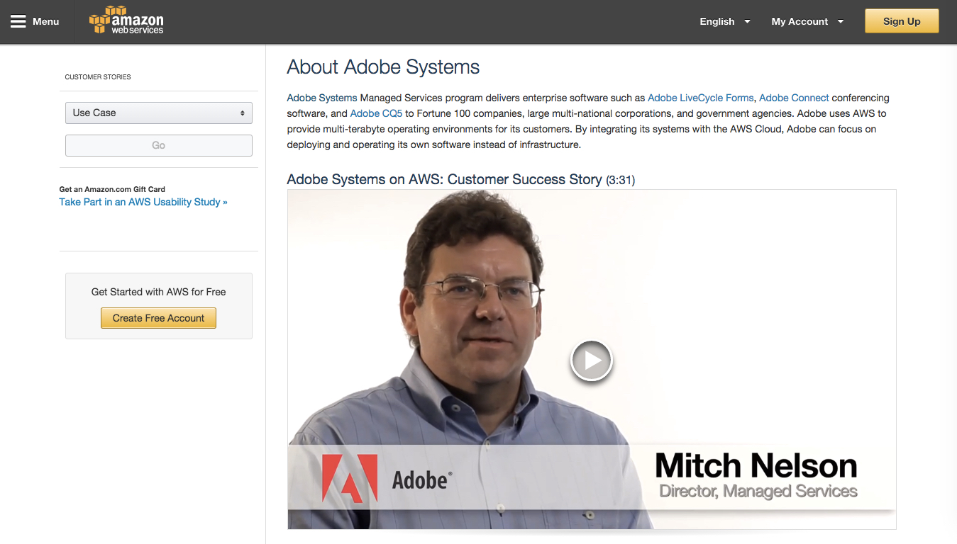 Adobe is a case study for Amazon Cloud Services