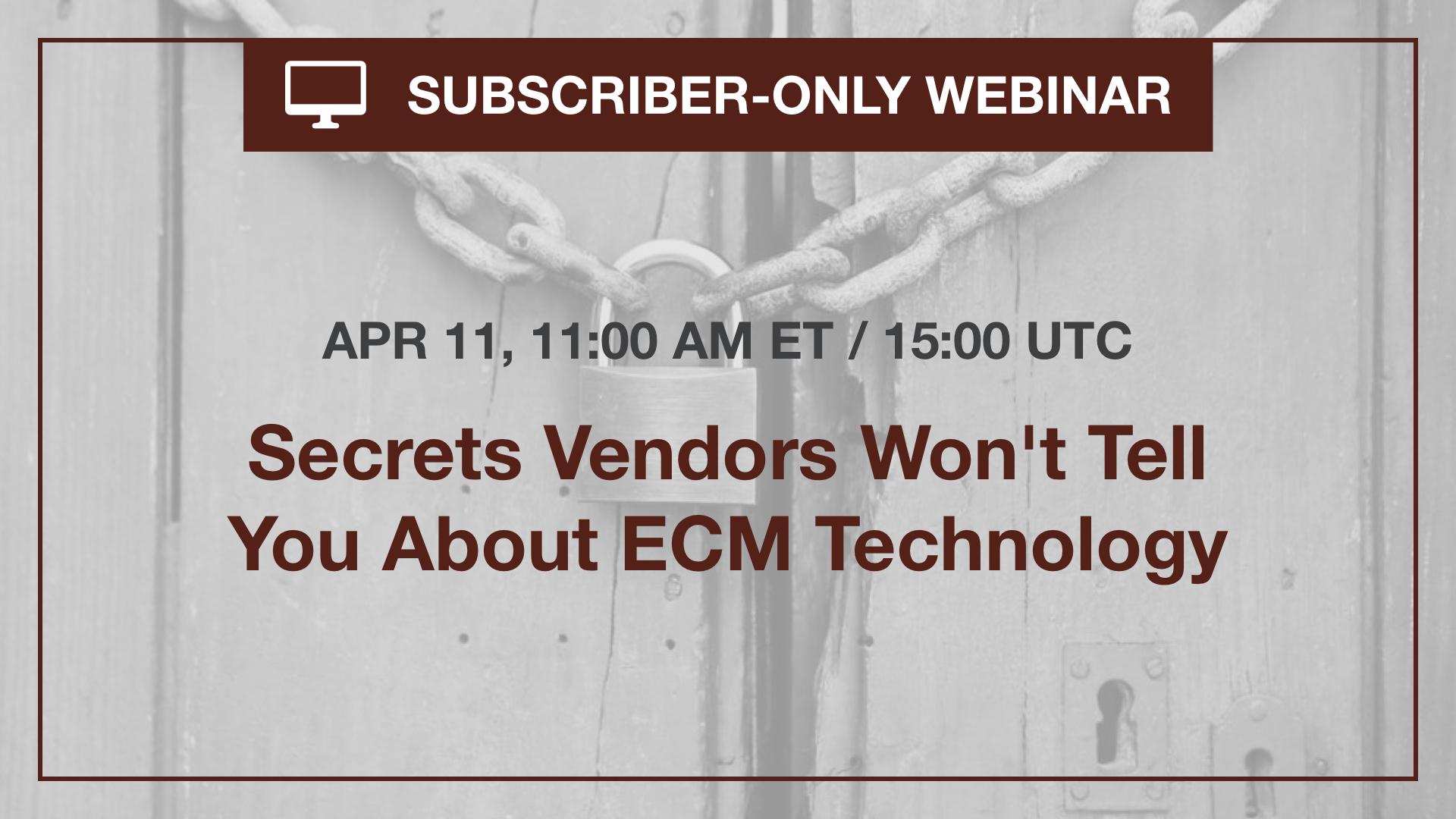 Subscriber ECM Webinar