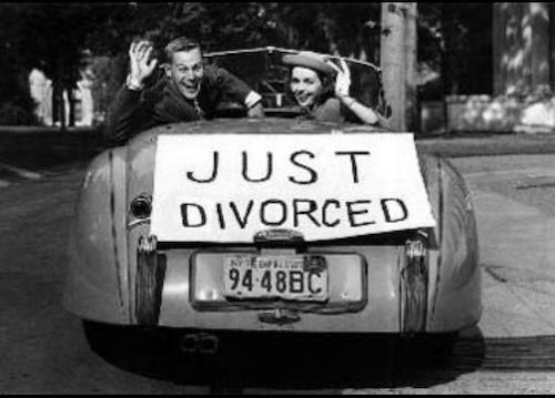 Just Divorced Sign on Car